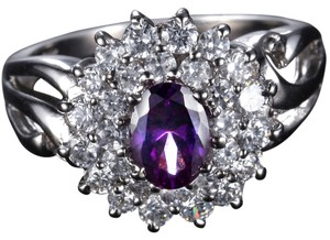 Bella & Chole Jewelry REDUCED! REDUCED AGAIN!! 14 K White Gold with Natural Amethyst Stone Ring With White Topaz. 2.00ct Amethyst Stone US Sz 6.5, 14KT White Gold (14K stamped)