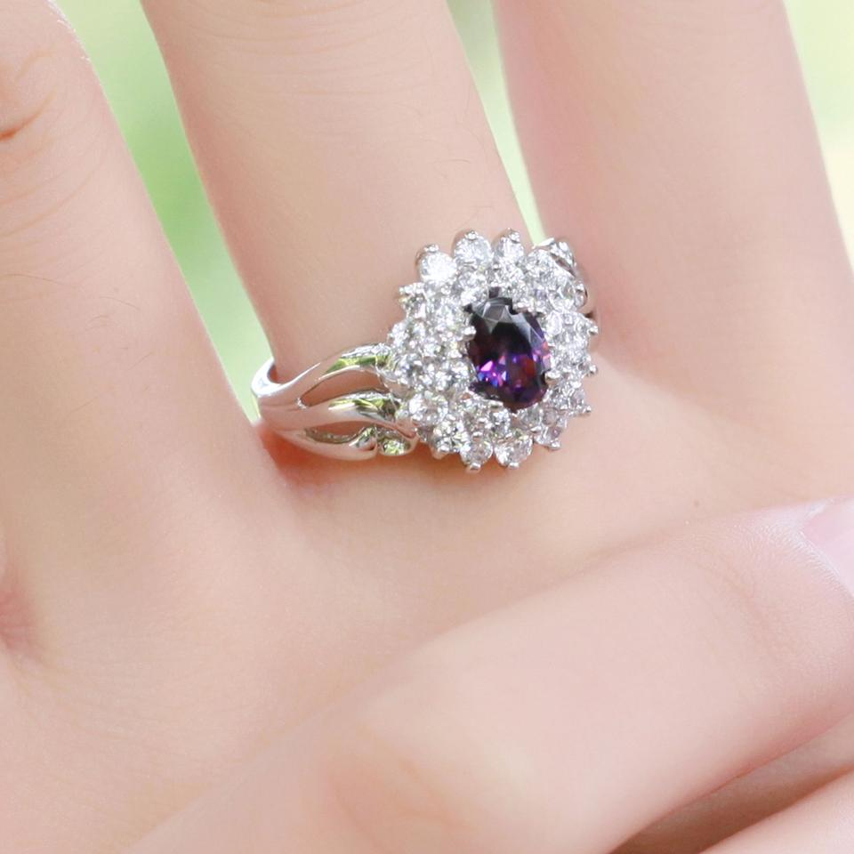 Amethyst (Purple) Reduced Reduced Again 14 K White Gold with Natural ...