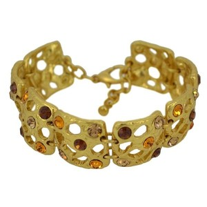 Other Statement Mina 24kt Gold Plated Pewter Encrusted Rhinestone Bracelet