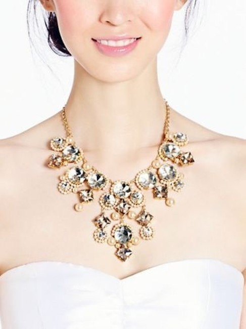 Item - 12k Gold Plate with Pearls and Crystals Perfect Elegant Classic Palace Gems Statement New Tags In Wrapping Necklace