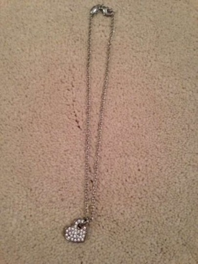 Other Silver Faux Diamond Heart Pendant Charm Necklace