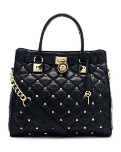 Michael Kors Studded Leather Gold Hardware Vintage Tote in Black/Gold