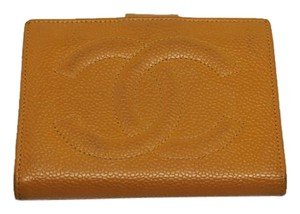 Chanel Chanel Vintage Orange Caviar Leather Bi-fold Wallet