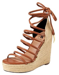 Ava & Aiden Wedge Ankle Wrap Cognac - Brown Wedges
