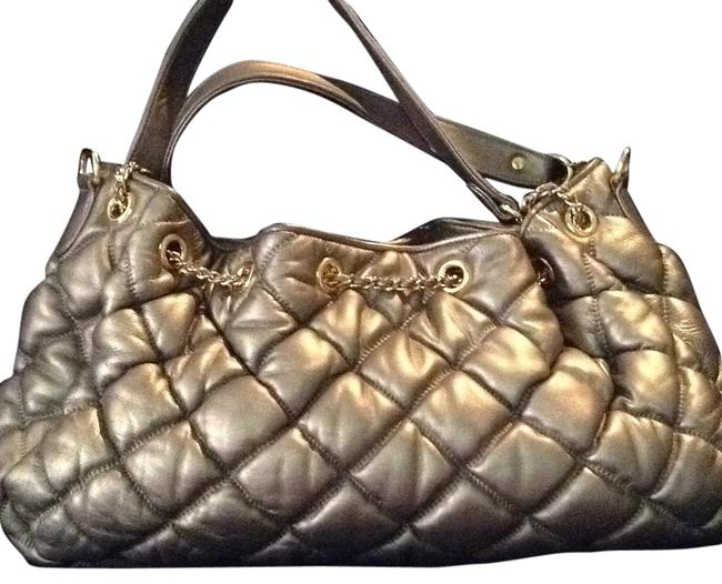 Item - 1974222 Grey Leather Quilted Satchel