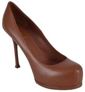 Saint Laurent Ysl Heels Ysl Platforms Cognac Pumps