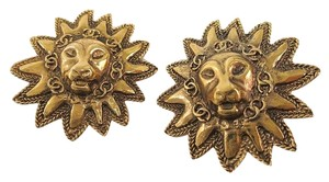 Chanel LION SUNBURST EARRINGS GOLD PLATED