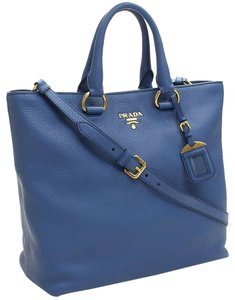 Prada Handbag Pebbled Leather Designer Tote in Blue