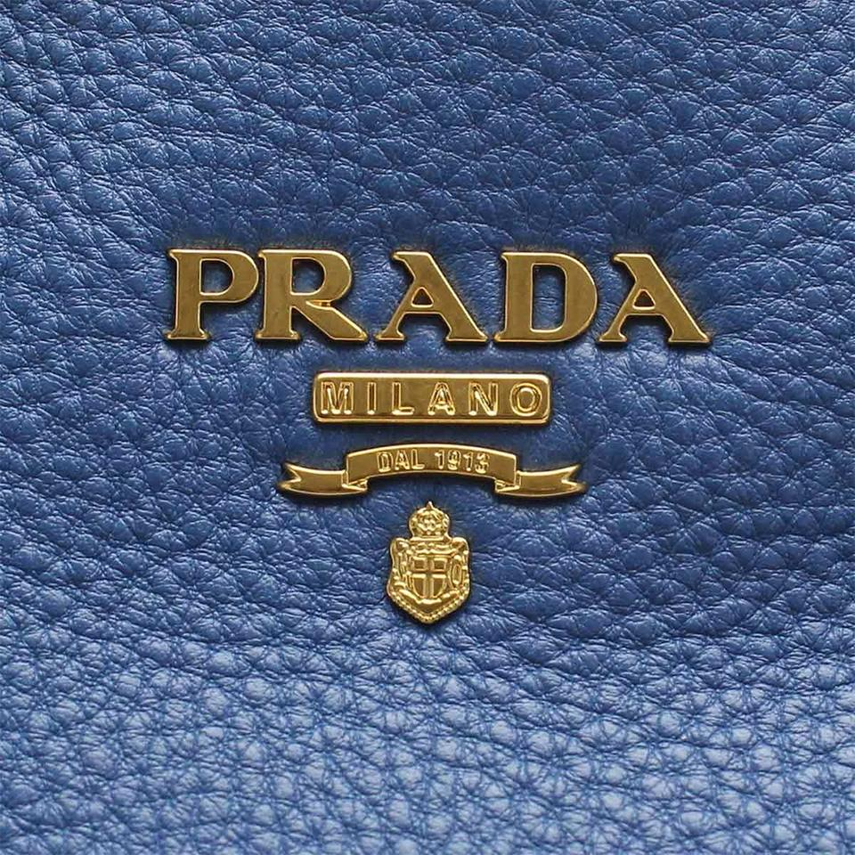 8e999134403ee ... get prada vit vitello daino pebbled handbag blue leather tote tradesy  c74e8 28780