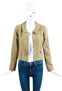 Chanel 00a Gray Metallic Tweed Buckle Front Gold Jacket