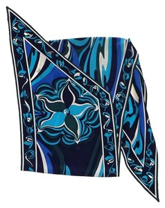 Emilio Pucci Blue & White Floral Waves Silk Scarf