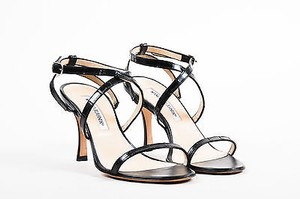 Manolo Blahnik Embossed Black Sandals