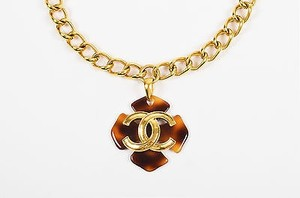 Chanel Chanel 95p Gold Tone Chain Link Tortoise Shell Clover Cc Pendant Necklace