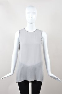 Vince Silk Beaded Top Gray