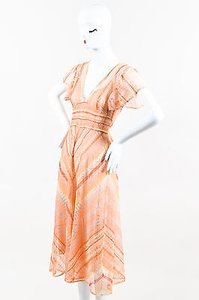 Multi-Color Maxi Dress by Valentino Orange Silk Knit Flutter Sleeve Tie Waist
