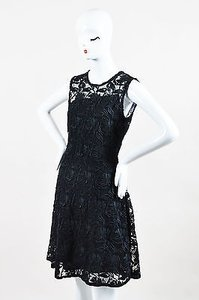 Dior short dress Black Christian Nero Floral Guipure Flared Cocktail on Tradesy