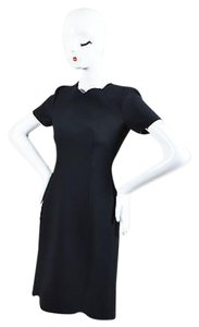 Dior Christian Wool Silk Scalloped Trim Ss Sheath Dress
