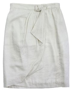 MILLY Ivory Linen Wrap Skirt