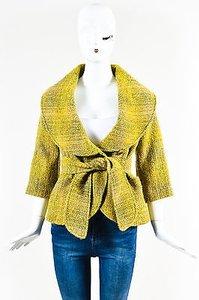 Etro Green Mohair Wool Yellow Jacket
