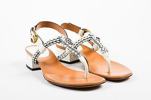Gucci Leather Braided Thong Block Heel Candy White Sandals