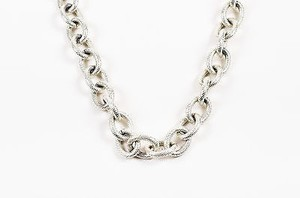 Silver Tone Hammered Chunky Oval Link Chain Necklace