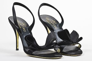Valentino Satin Slingback Bow Black Sandals