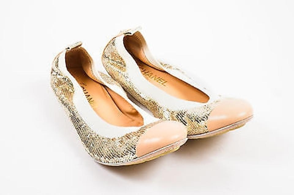 9a6ffbabc5b4a Chanel Gold Nude Metallic Leather Cap Toe Sequin Ballet Flats Size ...