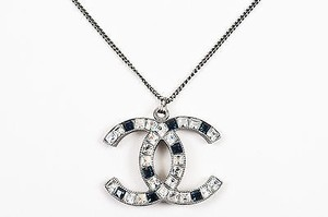 Chanel Chanel Silver Tone Blue Metal Rhinestone Embellished Cc Pendant Necklace