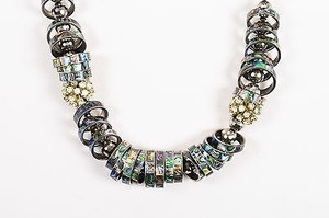 Vintage Silver Tone Wood Rhinestone Mother Of Pearl Ring Statement Necklace