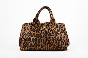 Prada Black Cavallino Calf Hair Leopard Print Tote in Brown