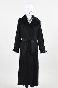 Other Vintage Christia Shearling Fringe Full Length Hooded Long Sleeve Coat