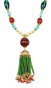 Other Lawrence Vrba Green Red Teal Faux Pearl Tassel Pendant Necklace