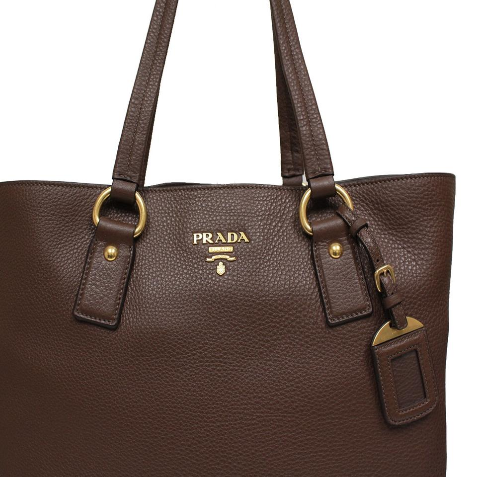 parda bags - Prada Vit Vitello Daino Pebbled Leather Handbag Brown Tote Bag on ...