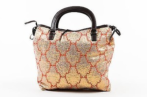 Prada Gold Metallic Red Brown Tote in Multi-Color