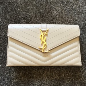 Saint Laurent Quilted Chevron Ysl Beige Clutch