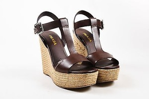 Prada Leather T Strap Brown Sandals