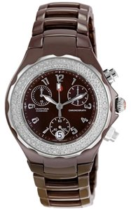 Michele NEW Michele Tahitian Diamond MWW12A000011 Brown Ceramic Ladies Watch