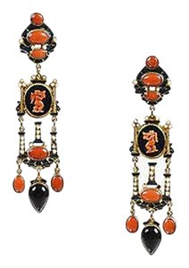 Other Percossi Papi Gold Tone Black Onyx Coral Pearl Enamel Cameo Drop Earrings