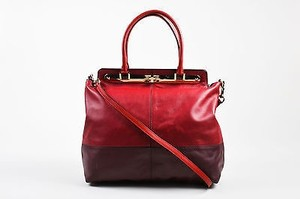 Valentino Burgundy Leather Claret Colorblock Tote in Red