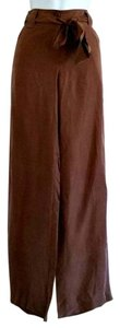 Talbots Bow Tie Bow Belt Bow Trousers Wide Leg Pants Brown