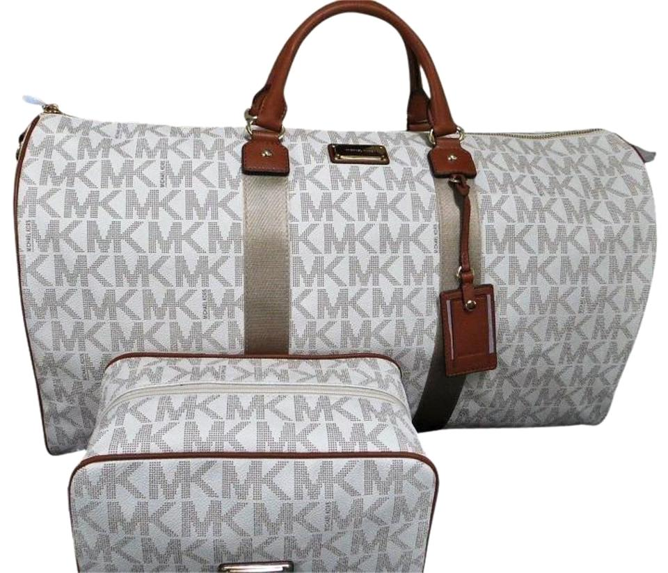afc9afffcf2818 ... MK SIGNATURE WEEKENDER PVC OVERNIGHT TRAVEL SATCHEL TOTE CARRY ON Michael  Kors Jet Set Duffle Pouch Shoulder Strap Signature Vanilla Travel Bag .