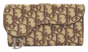 Dior RDC4026 Christian Dior Fabric and Leather Long Wallet with Charm