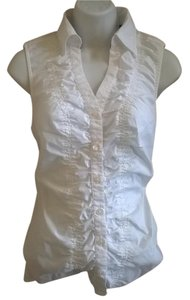 Express Ruched Button Down Shirt White