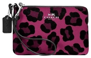 Coach Wallet Ocelot F64238 Wristlet in Cranberry