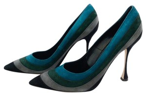 Manolo Blahnik Green grey black teal Pumps