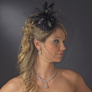 Black Birdcage Iuliia Russian Hat with Swarovski Crystals & Feather Accents - Bridal Veil