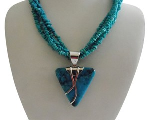 Mine Finds by Jay King Mine Finds By Jay King .925 4 Strand Chip sized beads of Blue Turquoise Necklace with Large Turquoise Pendant