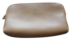 Furla Leather Unlined Logo Tan Clutch