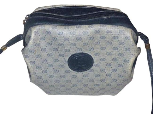 Item - Vintage Bags/Designer Purses Navy Small G Logo Print On Greyish Blue Coated Canvas/Navy Leather Leather/Coated Cross Body Bag