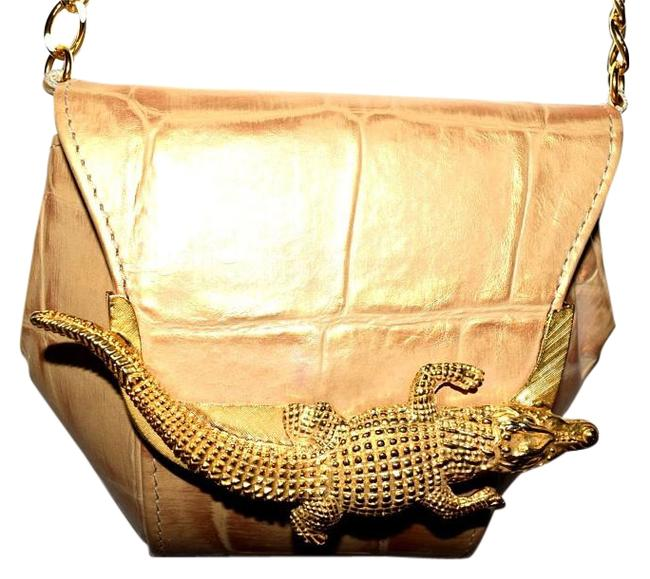 Item - Evening Gator with Chain Gold Genuine Leather Shoulder Bag